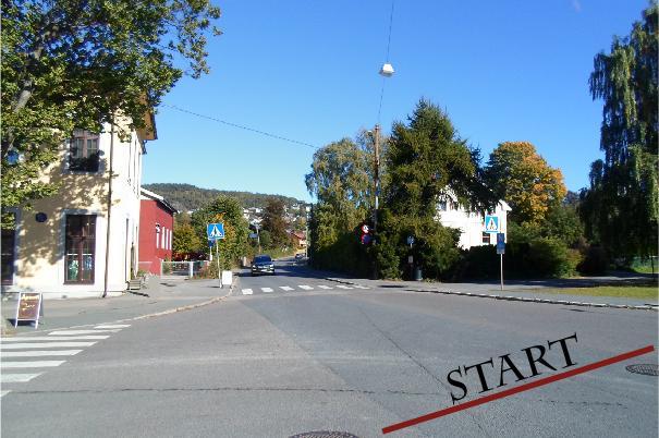 Starten er i midten av dette krysset hvor Lettvintveien kommer inn i Kjelsåsveien. Med Strava som referanse.