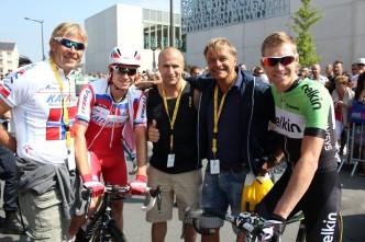 Geir og Raymond med Dag Otto, Lars P. Nordhaug og Alexander Kristoff før start