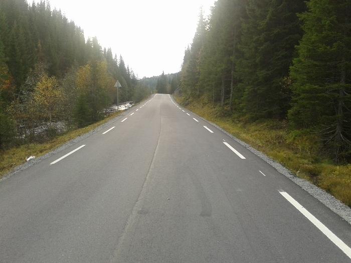 Veien mellom Hommelvik og Selbustrand preges av bakker, svinger og litt halvbra asfalt. Men som du ser finnes det lange flate strekk og god asfalt